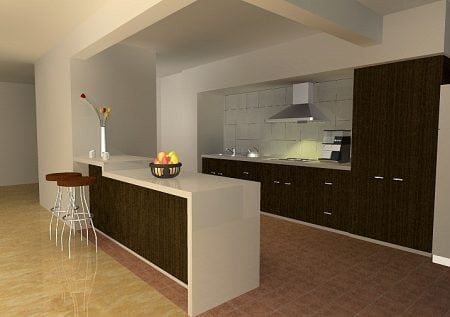 Imbiancare cucina, soggiorno ambiente unico con arredo moderno