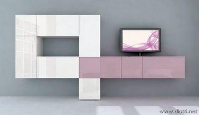Dipingere soggiorno con arredo rovere bianco e lilla