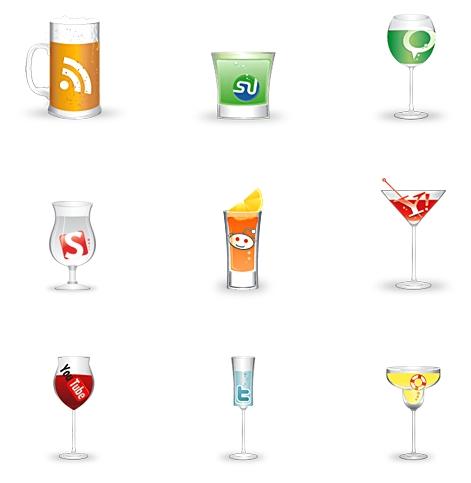 cheers social icon set