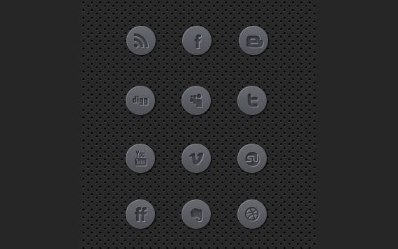 dark grey round social icon set