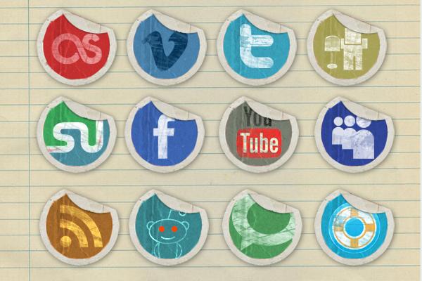 grunge peeling stickers social media icons