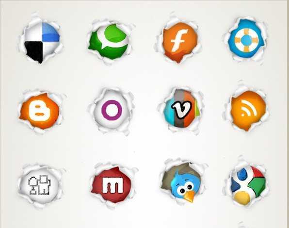 page peel social icon set