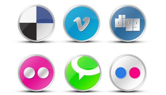 round vista type social icons