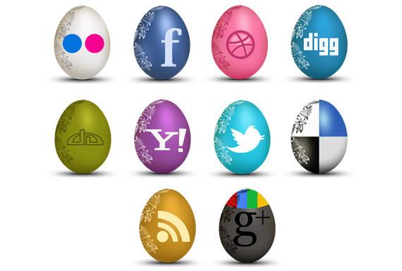 set of egg shaped social icons