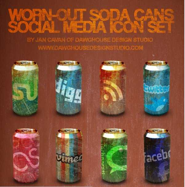 soda cans social icons