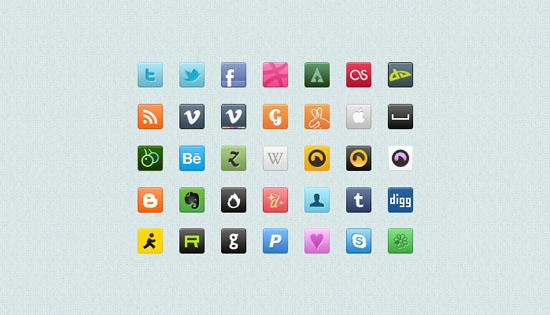 sqaure social icons