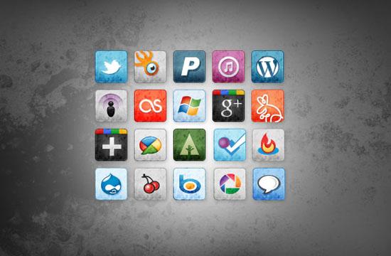 square fade icons set