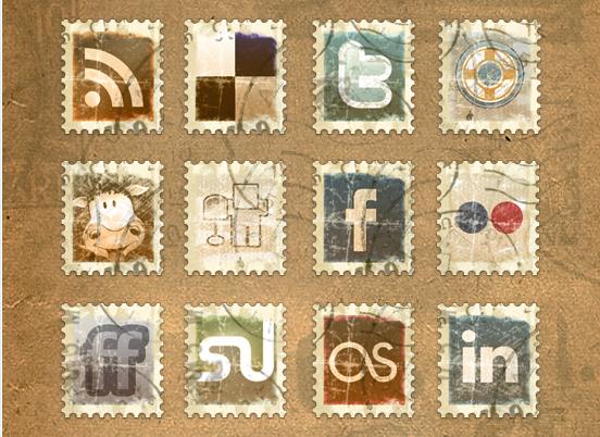 vintage stamp social media pack