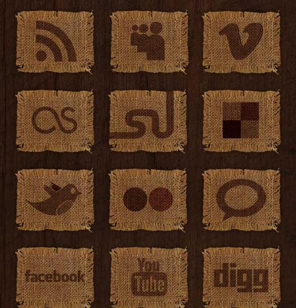 woven fabric social media icon set