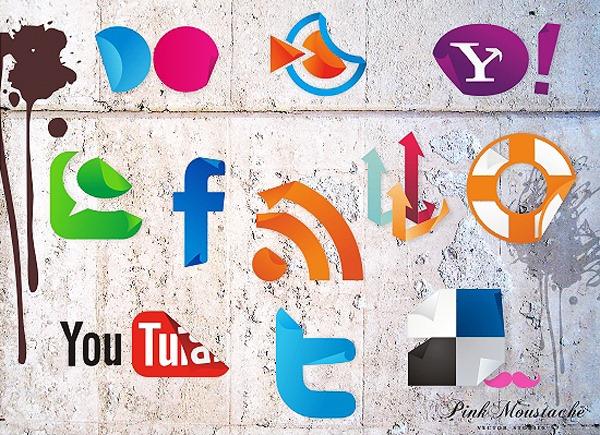 social icon sticker set