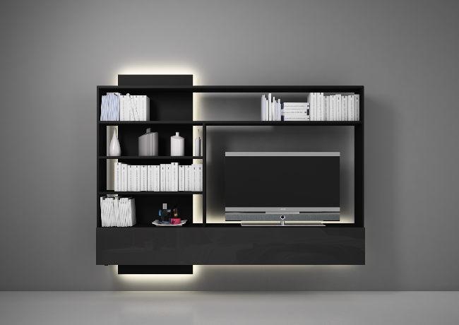 Estel_arredo_e_design_LIBRERIA L1920 H1536 P22 C_PORTA TV CONTATTO muro scuro