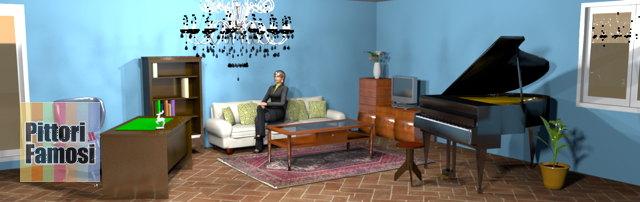 salotto-nord-mobili-noce-pavimento-cotto-divano-panna-blu