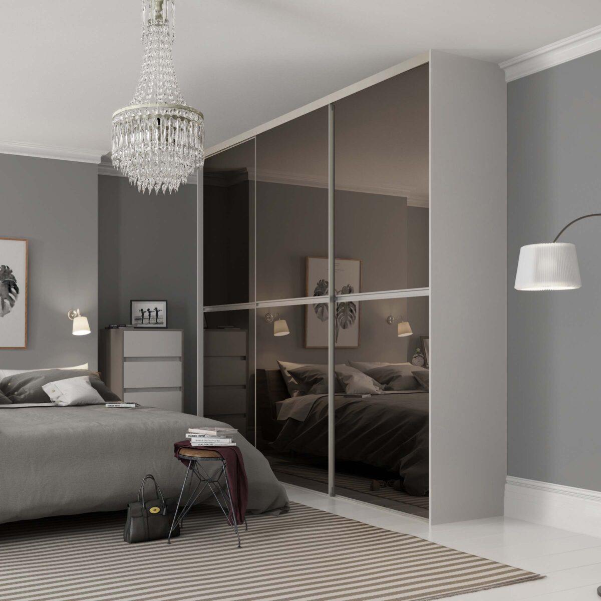 Gliss Minimalist Bronze Mirror Silver frame sliding wardrobe doo