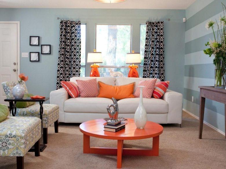 Stylish Living Room Light Blue Walls – Living Room Design Ideas with regard to Blue And Orange Living Room