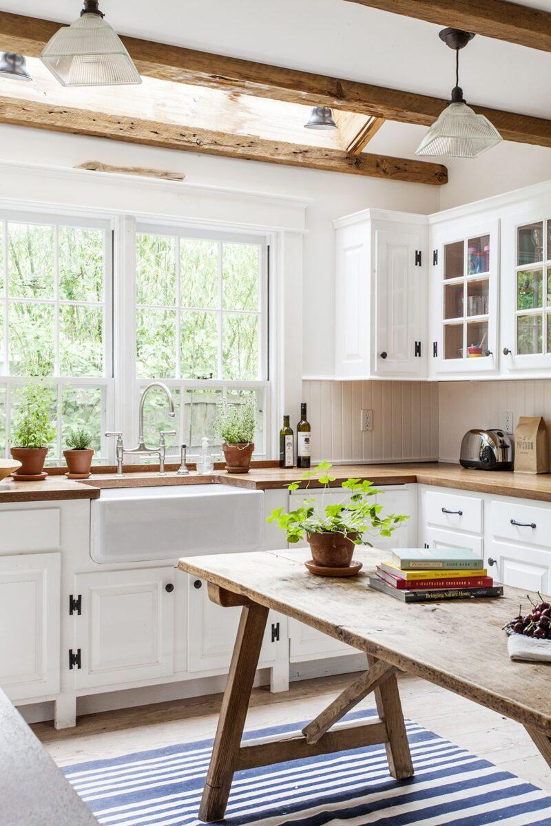 cucina bianca legno