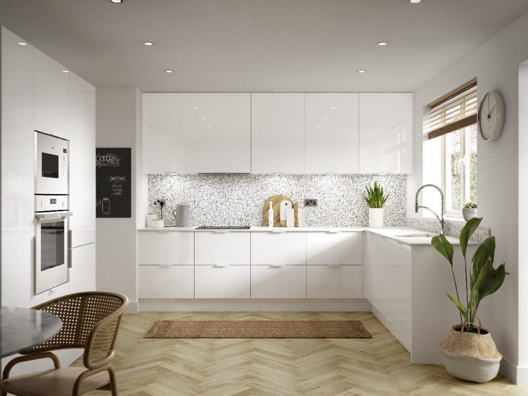 cucina bianca pavimento