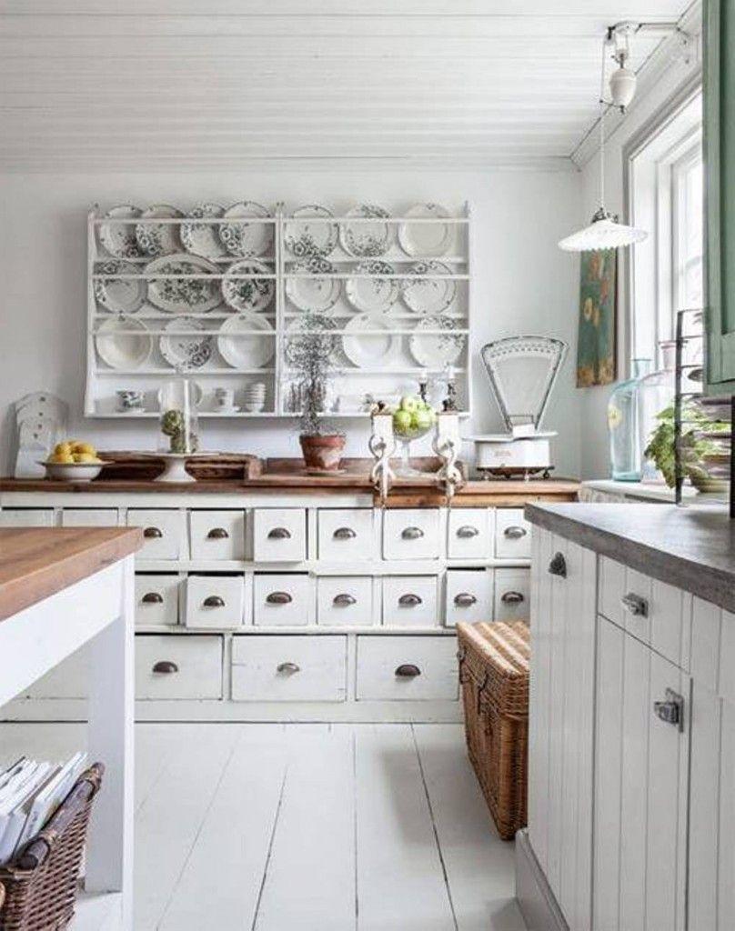 cucina bianca shabby