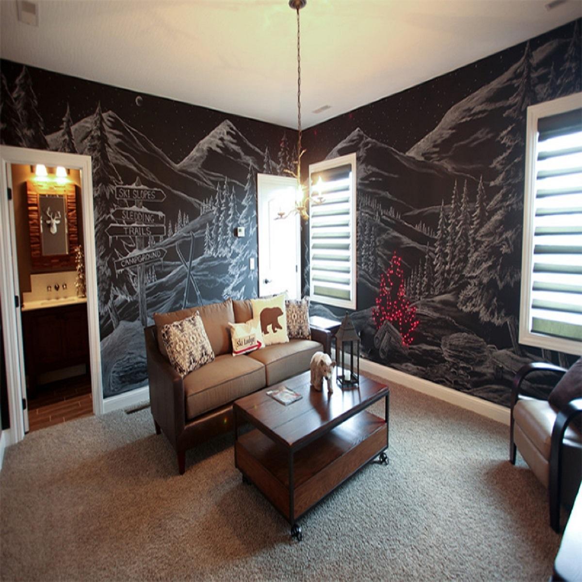 10 idee e foto per usare il color lavagna in soggiorno
