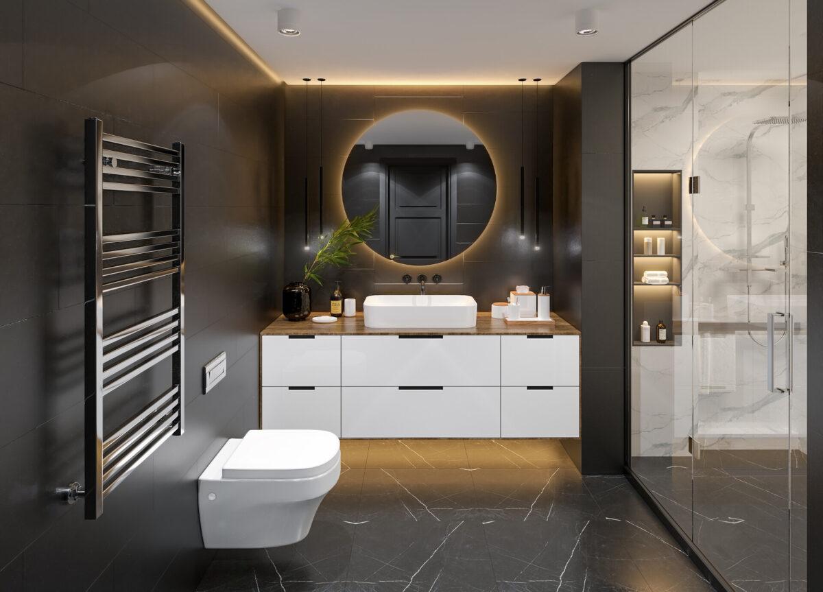 Colori scuri per il bagno: 10 idee e foto