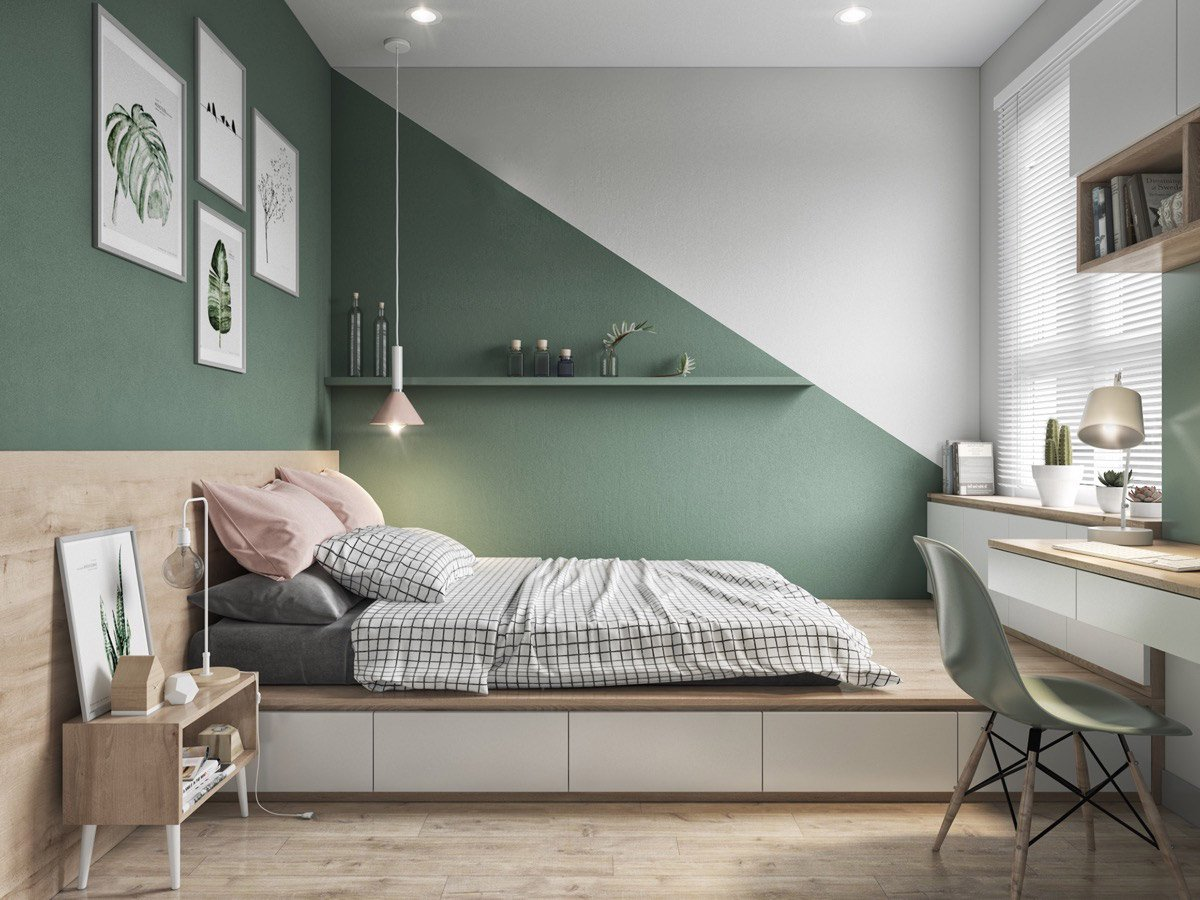 Pareti verde oliva in camera da letto: 10 idee e foto