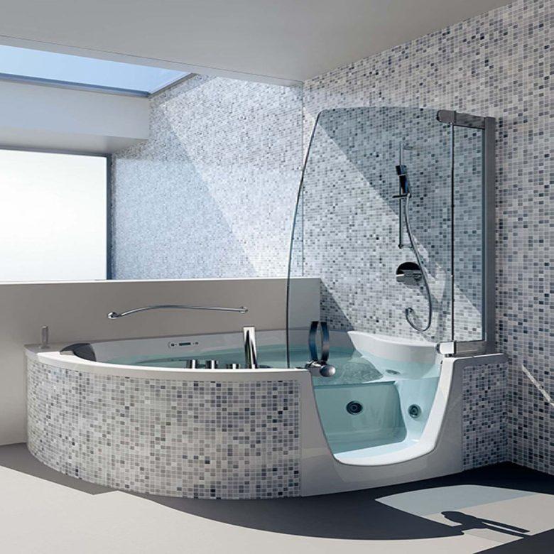 Bathroom Wonderful Black And White Mosaic Tile And White Corner