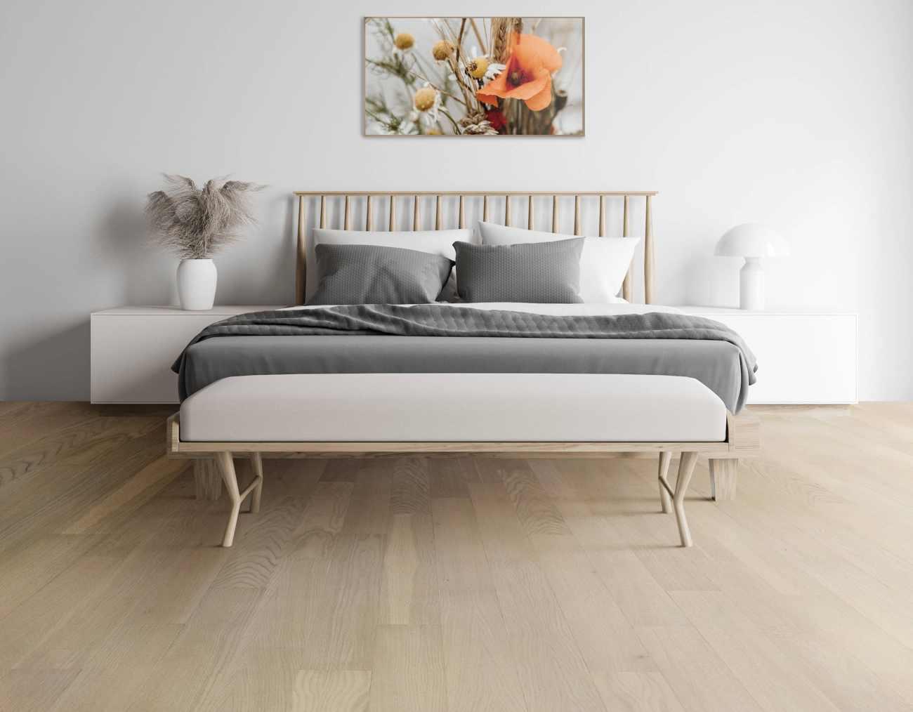 mobili bianchi e pavimento rovere combinazione colori